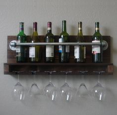 Industrial Rustic Modern 8 Bottle Wall Mount Wine Rack with 6 Glass Slot Holder Hanging Wine Glass Rack, Wine Glass Shelf, Wine Glass Holder, Glass Shelves, Mounted Shelves, Rustic Industrial, Modern Rustic, Wine Rack Design, Ikea Wall