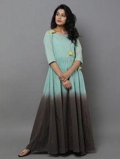 Green Brown Cotton Anarkali Dress – The Loom Cotton Anarkali Dress, Cotton Dresses, Kurta Designs Women, Blouse Designs, Latest Kurti, Lehenga Choli Online, Indian Designer Wear, Indian Dresses, Indian Wear