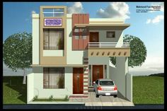De 2 Storey House Design, Modern House Design, House Front Wall Design, 20x40 House Plans, Indian House Plans, House Elevation, Front Elevation, House Design Pictures, Independent House