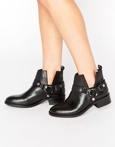 b8feb0c3e92 ASOS ANCHA Leather Cut Out Ankle Boots at asos.com