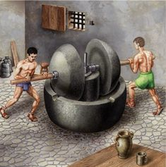 The Trapetum originated in Greece, In Pompeii  remains of an ancient olive oil mill called Trapetum have been found.