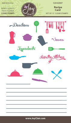 Recipe Card Clear Stamps - Joy Clair