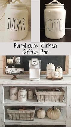 Farmhouse Kitchen Coffee Bar Ideas and Kitchen Canister Sets - Farmhouse Kitchen Decorating Ideas With Rustic Farmhouse Canisters Farmhouse Kitchen Canisters, Kitchen Canister Sets, Country Kitchen Farmhouse, Kitchen Sets, Farmhouse Ideas, Kitchen Hutch, Farmhouse Baskets, Kitchen Walls, Kitchen Shelves