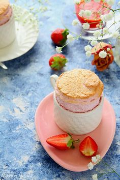 This light and fluffy strawberry soufflé is surprisingly easy to make and makes for a beautiful dessert any time of the year. Layered Desserts, Just Desserts, Delicious Desserts, Dessert Recipes, Dessert Ideas, Strawberry Puree, Wedding Food Menu, Wedding Sweets, Recipes
