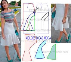 Analise a execução do molde de saia branca que está explicada com grande rigor, em pormenor no desenho, para que concluam a modelagem da saia com facilidad