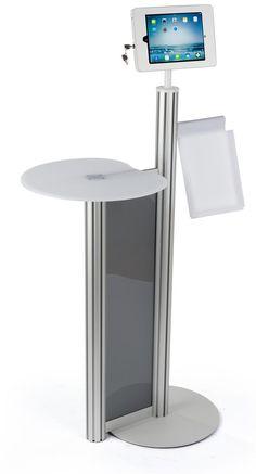 ipad floor stand w locking enclosure u0026 acrylic tabletop magazine pocket silver - Ipad Floor Stand