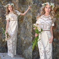 Bohemian Wedding Dress Hippie Boho Bridal Runway Two Tone Real Vintage... (€570) ❤ liked on Polyvore featuring dresses, grey, women's clothing, hippie dress, bohemian dress, vintage lace dress, grey cocktail dress and gray cocktail dress