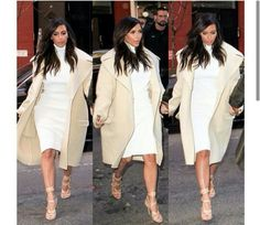 Kim Kardashian in Celine coat, Celine dress, and Tom Ford shoes.
