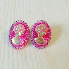 Iridescent pink cameo earrings by MGreenhalghDesigns on Etsy https://www.etsy.com/listing/217498886/iridescent-pink-cameo-earrings