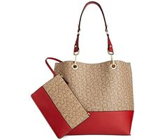 Calvin Klein Signature Reversible Tote With Pouch (Khaki/Brown/Red) -- Click image to review more details.