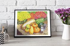 Squirrel and Pumpkins printable poster gift for her summer