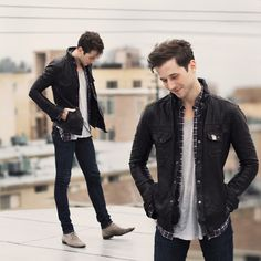 All Saints Leather Jacket, Nudie Jeans Blue Jeans, Pierre Hardy Leather Boots, Ben Sherman Plaid Shirt