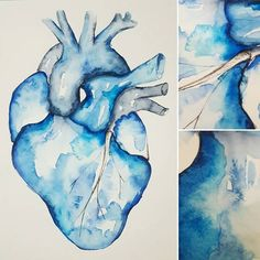 You can try all you like to control it, but really... it's the paint that's running the show. . . . #watercolour #wild #medschool #medart #medstudent #anatomyart #medicalillustration #heart #cardio #blue #monochrome #doctor #futuredoctor #procrastipainting #ravenclawheart #art #painting #etsy #almostanatomical