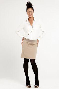 SLACKS AND CO - Jupe grossesse en coton beige taille basse Monaco // Beige cotton maternity skirt with low waist Monaco