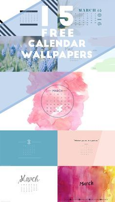 OVER 15 Free desktop wallpapers for iphone and desktop backgrounds on the blog! With watercolors, quote and calendars