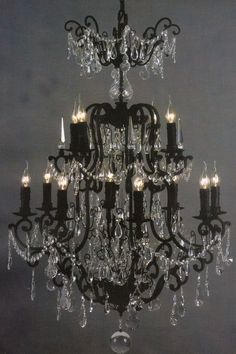 Elegant black & crystal chandelier