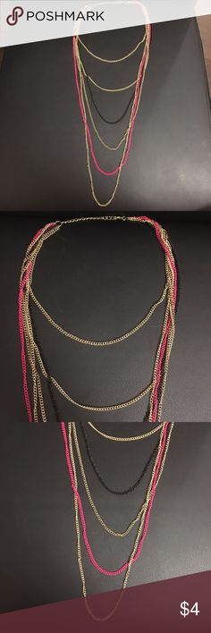 PINK, BLACK & GOLD Dangly Layered Necklace Such a cute necklace to wear with that extra pop of pink! Jewelry Necklaces