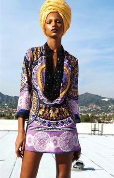 Gorgeous ... colorful tunic with seedbeaded collar and yellow headscarf/turban