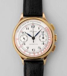 *Longines Tiffany & Co. Runder, mechanischer Flyback Herrenchronograph um 1940 in 750 Gelbgoldgehä