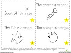 Worksheets: The Color Orange mini book. Other colors available too