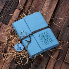 Turquoise Personalized Felt Journal & Key Chain