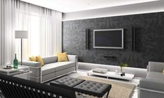 color schemes for living room with black wallpaper
