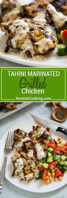 Tahini Marinated Grilled Chicken is not over powering in sesame flavor, but the tahini adds an almost tenderizing quality to the chicken and amazing flavor! via @keviniscooking