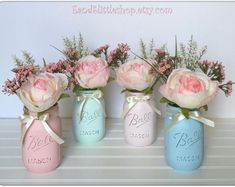 Baby Shower Mason Jar Set-Easter Decor-Spring Decor-Shabby Chic Decor-Vintage Decor-Wedding Decor-Pastel Green Pink Blue-Easter Centerpieces by EandSlittleShop on Etsy Mesas Shabby Chic, Cumpleaños Shabby Chic, Shabby Chic Design, Shabby Chic Wedding Decor, Shabby Chic Birthday, Shabby Chic Baby Shower, Shabby Chic Crafts, Shabby Chic Living Room, Shabby Chic Bedrooms