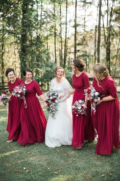 Exquisite English Manor Dress colors) – Dainty Jewell's Modest Clothing Exquisite English Manor Dress colors) Modest cranberry red chiffon and lace Exquisite English Manor bridesmaid dresses Cranberry Bridesmaid Dresses, Winter Bridesmaid Dresses, Winter Bridesmaids, Bridesmaid Dresses With Sleeves, Bridesmaid Outfit, Wedding Bridesmaid Dresses, Maxi Dresses, Lace Bridesmaids, Long Dresses