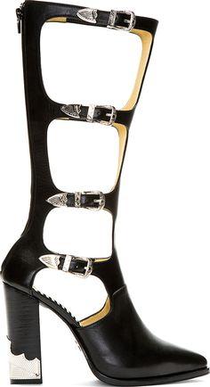 Toga Pulla: Black Leather Multi Strap High Heel Boot