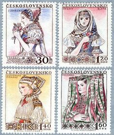 ◇ Czecho-Slovakia Stamps from 1956 :: top left - Slovacko, Czech :: top right - Blata, Czech :: bottom left - Cicmany, Slovakia :: bottom right - Velky Lom, Slovakia Folk Costume, Costumes, Postage Stamp Art, Principles Of Art, Stamp Collecting, Eastern Europe, Op Art, Czech Republic, Vintage Posters