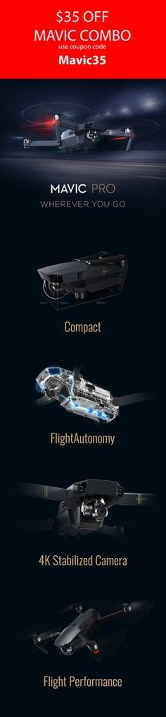 The newest technology from DJI the Mavic Pro.  This is a great coupon deal to get you out there and flying. Dont pass up this chance to own the latest technology in the market. We make it easy with BUY NOW PAY LATER finance option as low as 25$ per month. Now what are you waiting for. https://www.dynnexdrones.com/