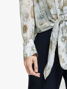 Buy Modern Rarity Winter Blooms Tie Front Top, Blue, 8 from our Women's Shirts & Tops range at John Lewis & Partners. Free Delivery on orders over Modern Wardrobe, Floral Sleeve, Front Tie Top, Tailored Trousers, Neck Pattern, Sheer Fabrics, Rarity, Personal Style, Kimono Top