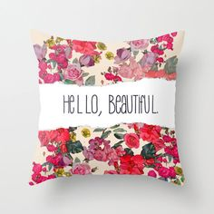 Hello, Beautiful. Pillow Cover with Vintage Inspired floral print design. Available in several colors, or customize with your own colors.