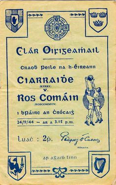 1948 All Ireland SF Final Cavan v Mayo official programme Roscommon Gaa, Ireland, Bunny, Posters, Bar, Sport, Vintage, Cute Bunny, Deporte