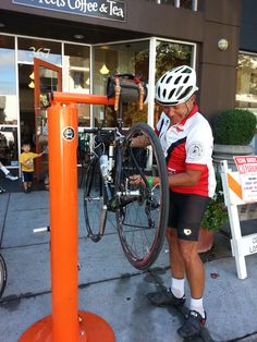 Bike repair station being put to good use!