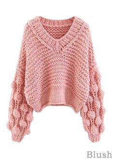 Goodnight Macaroon 'Kaitlyn' Pom Pom Cropped V Neck Sweater Chunky-knit, V-neck sweater Pom-pom sleeves Cropped length polyester. Pom Pom Sweater, Pink Sweater, Cropped Sweater, Sweater Fashion, Sweater Outfits, Circle Scarf, Knitted Gloves, Dressy Outfits, Ladies Dress Design