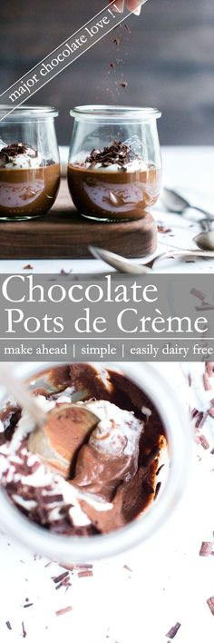 A luxurious and rich dessert with simple ingredients and minimal effort. Chocolate Pots de Crème with a dairy free option, is a go-to recipe for make ahead ease. This recipe is vegetarian + gluten free + easily dairy free Easy Chocolate Desserts, Easy No Bake Desserts, Chocolate Pots, Chocolate Recipes, Easy Desserts, Delicious Desserts, Dessert Recipes, Homemade Desserts, Drink Recipes
