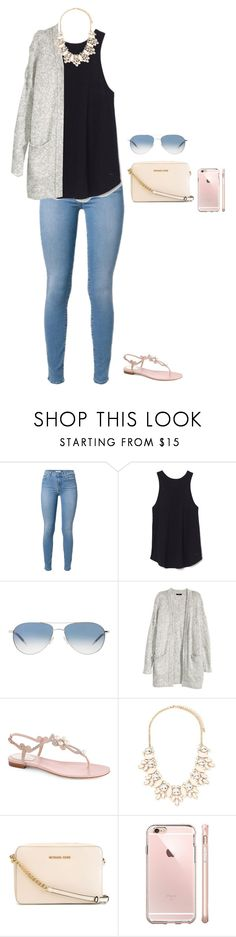 """""""Untitled #1127"""" by jackelinhernandez ❤ liked on Polyvore featuring Oliver Peoples, H&M, René Caovilla, Forever 21 and MICHAEL Michael Kors"""