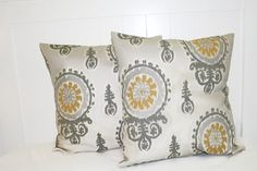 Decorative 18X18 Cream Gray and Gold IKat by TwoGreatFriends, $13.00