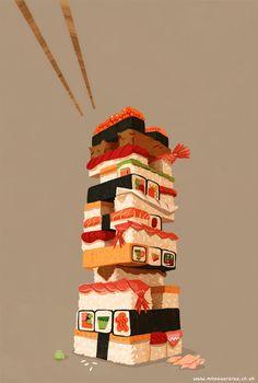 Illustration art food sushi Jenga artists on tumblr sushi illustration George Bletsis