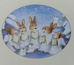 by Susan Wheeler Bunny Painting, Painting & Drawing, Christmas Illustration, Cute Illustration, Christmas Images, Christmas Angels, Rabbit Art, Bunny Rabbit, Susan Wheeler