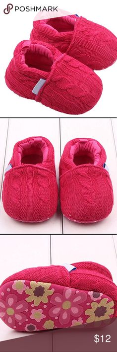 🌺Soft Anti-Slip Crib Shoes🌺 Baby crib shoes are perfect for daily use and easy to take off. Anti-slip design keeps baby in safe place. Soft material makes baby feel very comfortable. Perfect for a gift. Hot Pink cable sweater look with bottoms being pink, hot pink and green. Material: Woolen Yarn. Comes in original packaging. Shoes Slippers