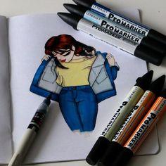 Jour 18: Inspiration Pinterest. Day 18: Pinterest Inspiration. #illustration #pentel #ink #inktober #frenchinktober #inktober2go #girl #ferret #promarker #jean #denim
