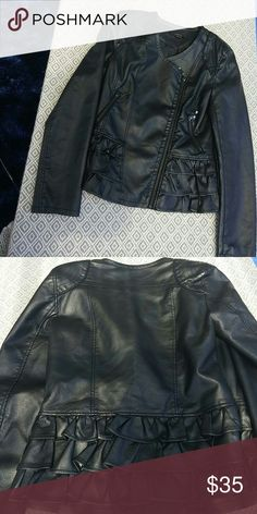 Faux leather jacket size m In excellent condition except one littlw small scratch on the right side when worn last picture please see..selling as is its super cute and fitter its on the longer side when worn ..not the belly kind...has a zipper like sideways thats the design how tge jacket was made..a must have. paper tee Jackets & Coats