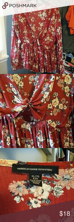 America Eagle Top Beautiful Burgundy floral top with Keyhole and knot tye in front, Extra Large, excellent condition, worn once. American Eagle Outfitters Tops Blouses
