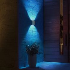 Philips Hue White and Color Ambiance LED-Wandleuchte Resonate silber Outdoor Wall Lamps, Outdoor Walls, Outdoor Lighting, Light Blue Houses, Philips Hue, Color Changing Lights, Blue Led Lights, Modern House Design, Lamp Design