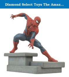 Diamond Select Toys The Amazing Spider-Man 2: Spider-Man Resin Statue. A Diamond Select Toys Release! New movie, new suit, new statue! Spider-Man and his new movie costume get the full-figure treatment from DST, with this dynamic statue of the Web-slinger atop a New York City rooftop. Depicting Spider-Man in a dynamic battle pose, this statue measures approximately 7 Inch tall with its base and is the ultimate ASM2 collectible! Sculpted by Gentle Giant!.