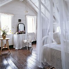 I'd like to go with a beach theme because of all the light the room gets, so whites?