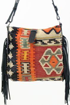 Tylie Malibu The Kilim Crossbody Fringe Bag in Black Leather- On Sale